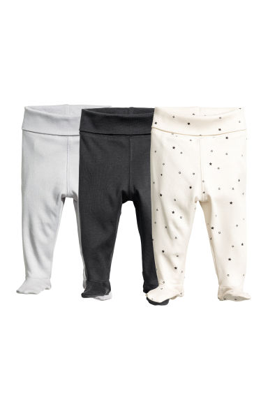 3-pack jersey trousers - Natural white/Grey - Kids | H&M