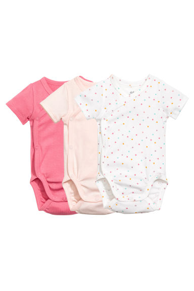 3-pack short-sleeved bodysuits - Powder pink -  | H&M 1