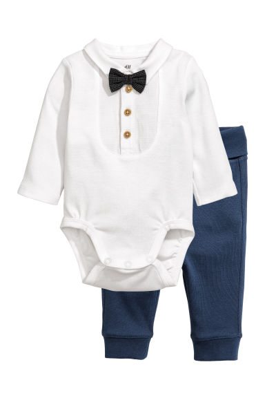 Bodysuit and trousers - Dark blue - Kids | H&M