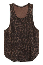Bleach-patterned vest top - Brown/Leopard print - Men | H&M 2