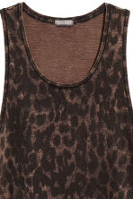 Bleach-patterned vest top - Brown/Leopard print - Men | H&M 3