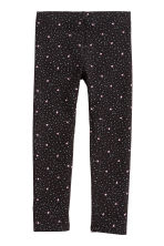 Sturdy jersey leggings - Black/Hearts -  | H&M 2
