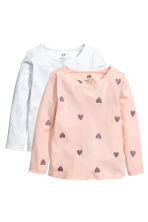 2-pack jersey tops - Light pink/Hearts - Kids | H&M 2