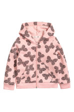 Hooded jacket - Light pink/Butterflies - Kids | H&M 2