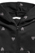 Hooded jacket - Black/Glittery hearts -  | H&M CN 3