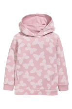 Patterned hooded top - Light pink/Butterflies - Kids | H&M CN 2