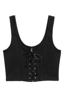 Cropped top with lacing