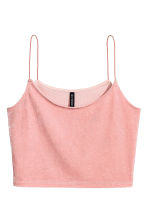 Crushed velvet strappy top - Dusky pink - Ladies | H&M 2