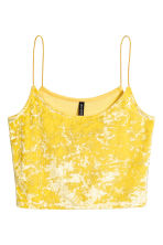Crushed velvet strappy top - 黄色 - Ladies | H&M CN 2