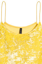 Crushed velvet strappy top - 黄色 - Ladies | H&M CN 3