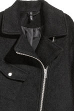 Wool-blend biker coat - Black -  | H&M GB 3