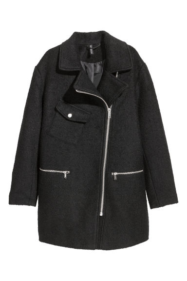 Wool-blend biker coat - Black -  | H&M