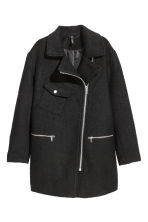 Wool-blend biker coat - Black -  | H&M GB 2