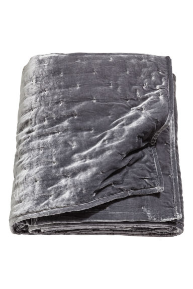 Padded velvet bedspread - Dark grey - Home All | H&M CN 1