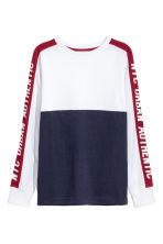 Color-block Jersey Shirt - White/dark blue - Kids | H&M CA 2