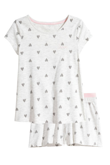 Jersey pyjamas - Light grey/Heart - Kids | H&M CN 1