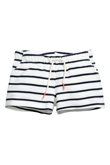 Short sweatshirt shorts - White/Striped - Kids | H&M CN 1