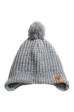 Fleece-lined hat with earflaps - Grey marl - Kids | H&M 1