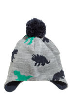 Fleece-lined hat with earflaps - Grey/Dinosaurs -  | H&M CN 1