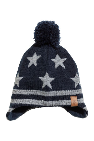 Fleece-lined hat with earflaps - Dark blue/Stars -  | H&M 1