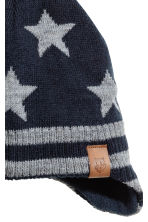 Fleece-lined hat with earflaps - Dark blue/Stars -  | H&M 2