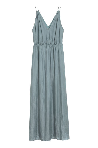Long V-neck dress - Blue-grey - Ladies | H&M 1