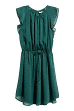 Dress with frilled sleeves - Dark green/Spotted - Ladies | H&M CN 2