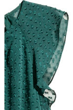 Dress with frilled sleeves - Dark green/Spotted - Ladies | H&M CN 3