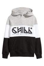Hooded top - Black/Grey marl - Kids | H&M 2