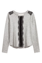 Long-sleeved Top with Lace - Gray melange -  | H&M CA 2