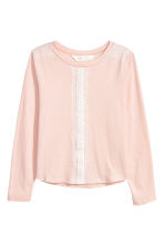 Long-sleeved top with lace - Powder pink - Kids | H&M CN 2