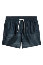 Knee-length swim shorts - Dark blue/Striped - Men | H&M CA 2