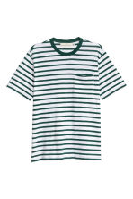 T-shirt - Wit/groen gestreept - HEREN | H&M BE 2