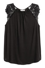 Jersey top with lace - Black - Ladies | H&M CA 2