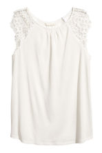 Jersey top with lace - White - Ladies | H&M 2