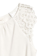 Jersey top with lace - White - Ladies | H&M 3