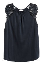 Top in jersey con pizzo - Blu scuro - DONNA | H&M IT 2