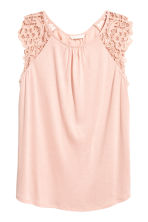 Jersey top with lace - Powder pink - Ladies | H&M CA 2