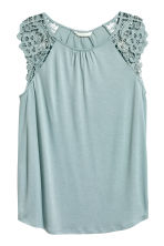 Jersey top with lace - Light turquoise - Ladies | H&M 2