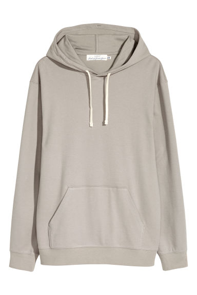 Cotton jersey hooded top - Grey beige - Men | H&M 1
