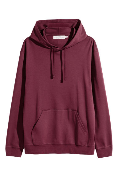 Cotton jersey hooded top - Burgundy - Men | H&M 1
