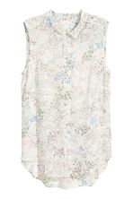 Sleeveless blouse - Natural white/Floral - Ladies | H&M CN 2