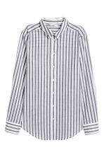 Cotton shirt - Dark grey/Striped - Ladies | H&M 2