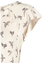 MAMA Flounce-sleeve jersey top - Natural white/Birds - Ladies | H&M 2