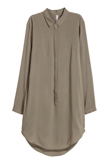 Long-sleeved tunic - Khaki green - Ladies | H&M