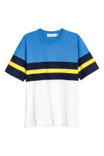 Block-patterned T-shirt - White/Blue - Men | H&M 2