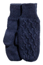 Textured-knit mittens - Dark blue -  | H&M CA 1
