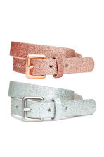 2-pack belts - Silver-coloured/Pink/Glitter - Kids | H&M 1