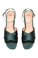 Satin platform sandals - Dark green - Ladies | H&M 2