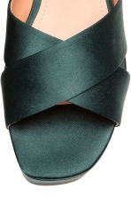 Satin platform sandals - Dark green - Ladies | H&M 3
